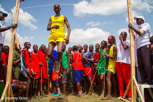 A Maasai warrior competes in the Maasai Olympics (Jeremy Goss)