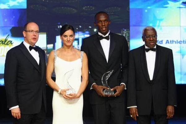 HSH Prince Albert II of Monaco, Yelena Isinbayeva of Russia, Usain Bolt of Jamaica and IAAF President Lamine Diack line-up during the IAAF World Athletics Gala at the Hotel on November 23, 2008 in Monte Carlo, Monaco. (Getty Images)