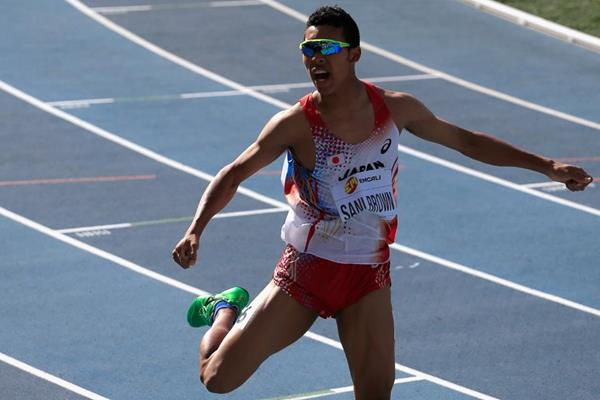 Abdul Hakim Sani Brown after winning the 200m at the IAAF World Youth Championships, Cali 2015 (Getty Images)