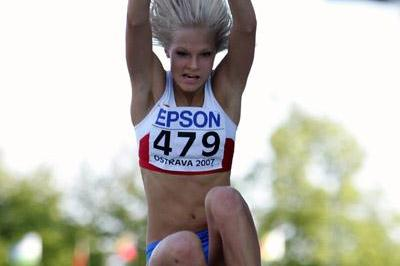 Darya Klishina of Russia on her way to gold in the World Youth Championships Long Jump final (Getty Images)