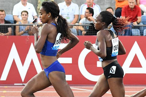 Genzebe Dibaba leads from Hellen Obiri in the 3000m at the IAAF Diamond League meeting in Lausanne (Gladys Chai von der Laage)