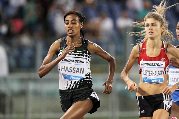 Sifan Hassan and Konstanze Klosterhalfen in the 1500m at the IAAF Diamond League meeting in Rome (Jean Pierre Durand)