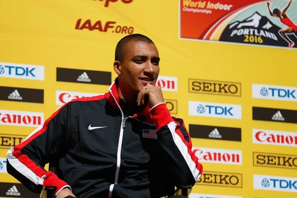 Ashton Eaton at the press conference ahead of the IAAF World Indoor Championships Portland 2016 (Getty Images)