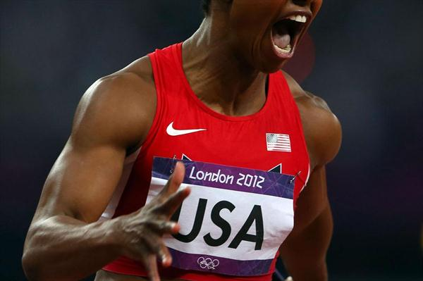 Carmelita Jeter of the United States celebrates winning gold in the Women's 4 x 100m Relay Final of the London 2012 Olympic Games (Getty Images)