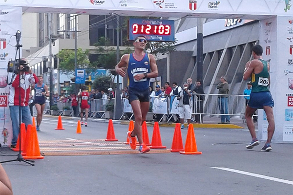 Eider Arevalo wins the 20km at the Pan American Race Walking Cup in Lima (Federación Peruana de Atletismo)