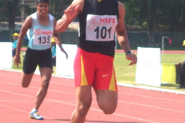 H.M. Jyothi winning the 100m at the Indian Grand Prix in Kochi (Ram. Murali Krishnan)