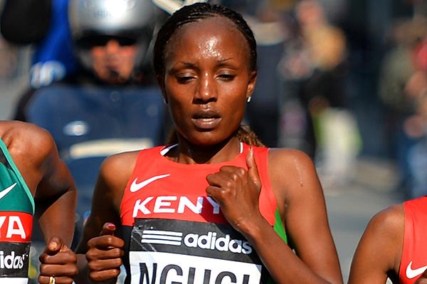 Mary Wacera Ngugi at the IAAF World Half Marathon Championships (Getty Images)