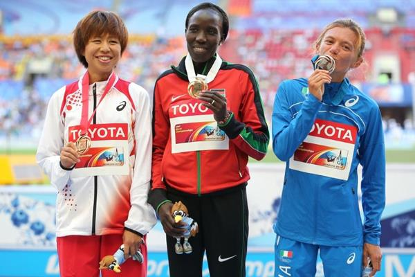 Medal Ceremony women's Marathon at the IAAF World Athletics Championships Moscow 2013 (Getty Images)
