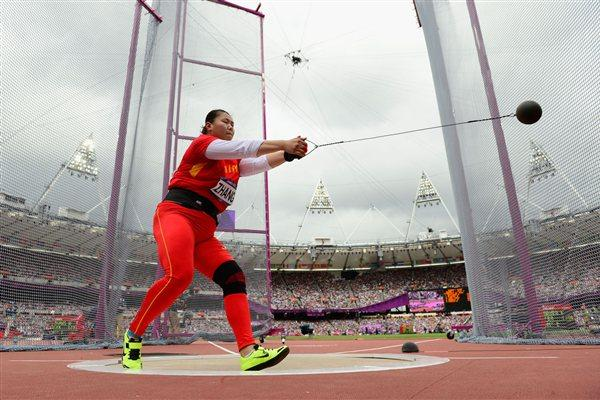 Wenxiu Zhang of China competes in the Women's Hammer Throw Qualifications on Day 12 of the London 2012 Olympic Games at Olympic Stadium on August 8, 2012  (Getty Images)