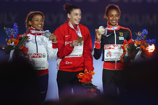 Women's long jump podium in Amsterdam 2016 ()