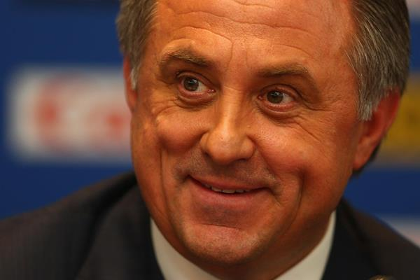 Russian Sports Minister Vitaly Mutko at the press conference after the IAAF Congress (Getty Images)