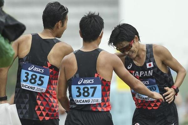 The Japanese 50km team celebrate at the IAAF World Race Walking Team Championships Taicang 2018 (Getty Images)