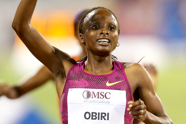 Kenya's Hellen Obiri celebrates her victory (AFP / Getty Images)