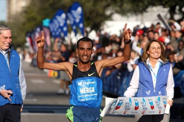 Deriba Merga after his 2:07:52 course record in Houston (Victah Sailer)