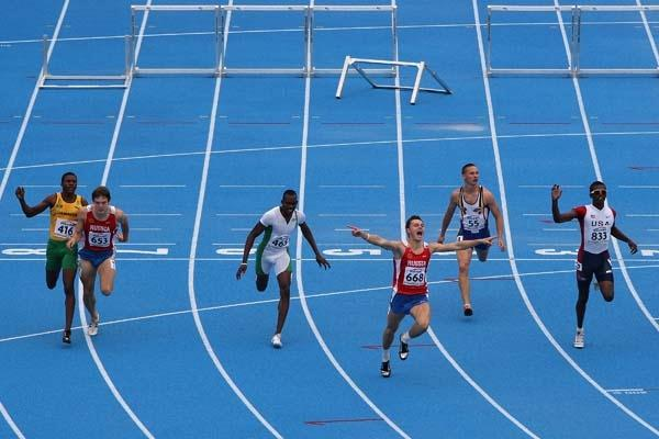 Konstantin Shabanov of Russia wins the Final of the Men's 110m Hurdles (Getty Images)
