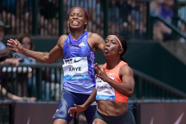 Shelly-Ann Fraser-Pryce wins the 100m at the IAAF Diamond League in Eugene (Kirby Lee)