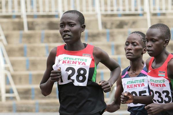 Lilian Kasait Rengeruk in the women's 3000m at the Kenyan Trials for the 2014 IAAF World Junior Championships (David Ogeka / PhotoRun.net)