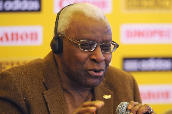 IAAF President Lamine Diack at the official IAAF Press Conference for the 40th edition of the IAAF World Cross Country Championships in Bydgoszcz, Poland, Saturday 23 March (Getty Images)