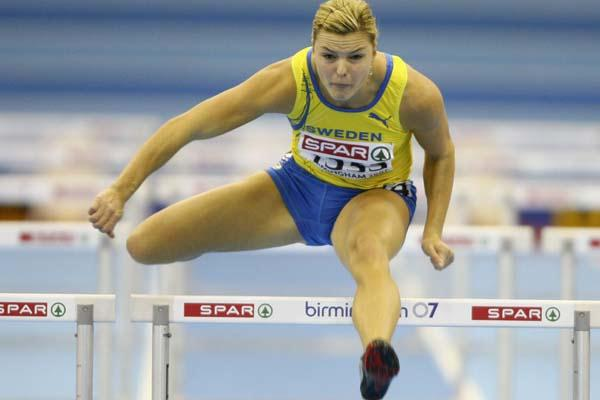 Susanna Kallur en route to her second European 60m Hurdles title in Birmingham (Getty Images)