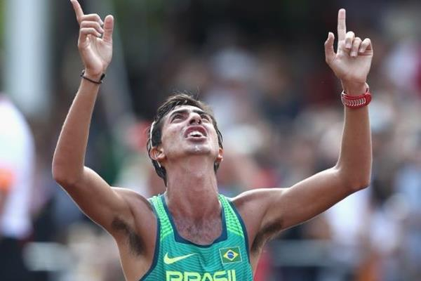 Bronze medallist Caio Bonfim at the end of the 20km race walk at the IAAF World Championships London 2017 (Getty Images)