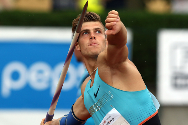 Marek Lukas in the decathlon javelin at the TNT Express meeting in Kladno (Jan Kucharcik)