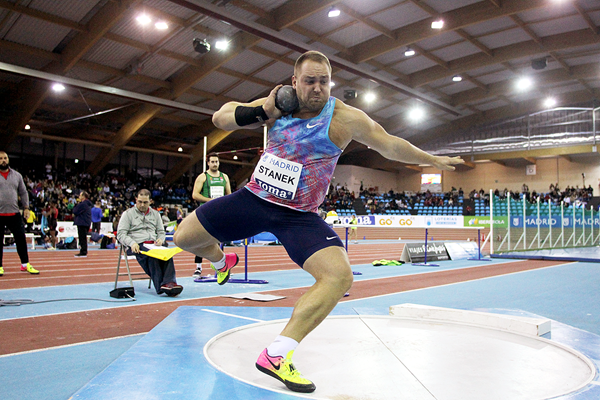 Shot put winner Tomas Stanek at the IAAF World Indoor Tour meeting in Madrid (Jean-Pierre Durand)