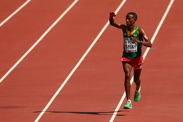 Yemane Tsegay of Ethiopia finishes second in the marathon at the IAAF World Championships, Beijing 2015 (Getty Images)