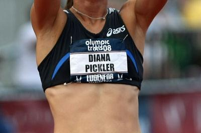Diana Pickler taking the third Beijing spot in the Heptathlon at the U.S. Trials in Eugene (Getty Images)