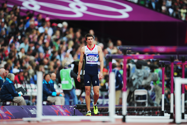 Andy Pozzi after pulling up in the heats of the 110m hurdles at the London 2012 Olympic Games (Getty Images)