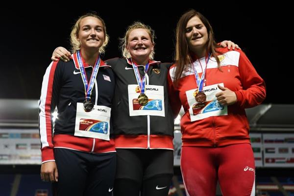 Girls' shot put podium at the IAAF World Youth Championships, Cali 2015 (Getty Images)