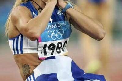 An incredulous Fani Halkia of Greece after winning the 400m Hurdles (Getty Images)