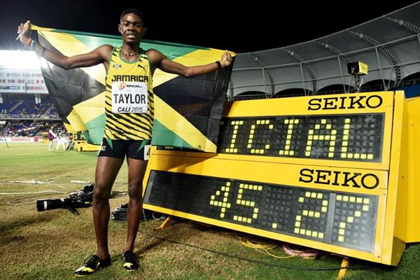 Christopher Taylor after winning the boys' 400m at the IAAF World Youth Championships, Cali 2015 (Getty Images)