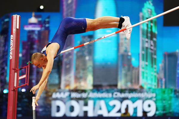 Sam Kendricks in pole vault qualifying at the IAAF World Athletics Championships Doha 2019 (Getty Images)