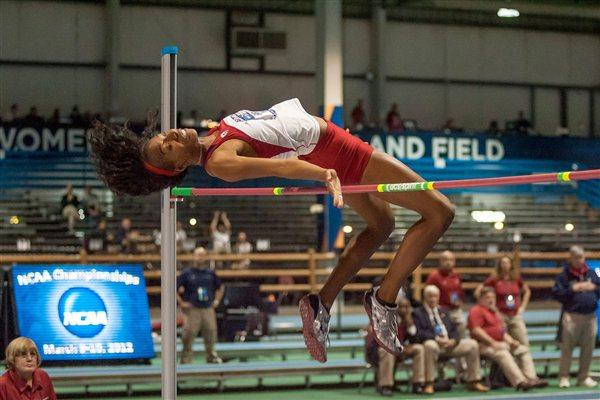 Brigetta Barrett on her way to High Jump victory at the 2012 NCAA Indoors (Getty Images)