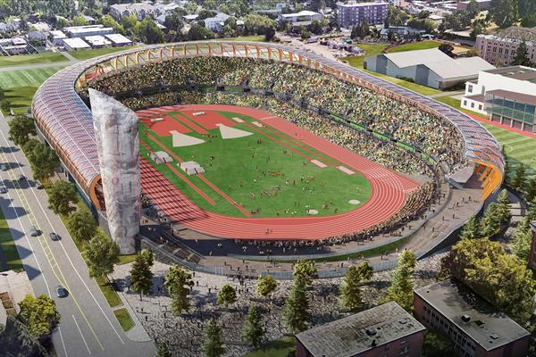 A rendering of the new Hayward Field (University of Oregon)