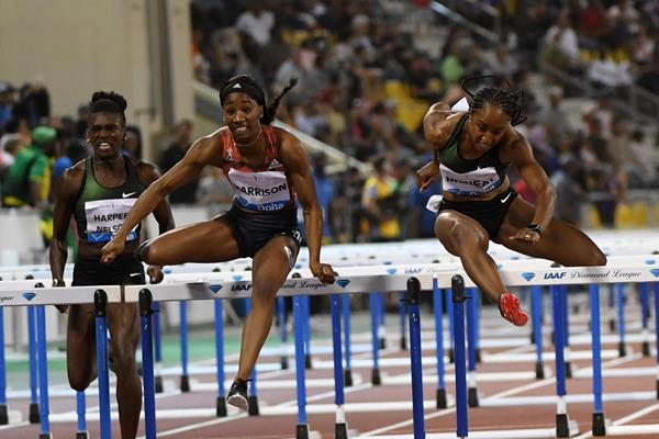 Kendra Harrison on her way to winning the 100m hurdles at the IAAF Diamond League meeting in Doha (Hasse Sjogren)