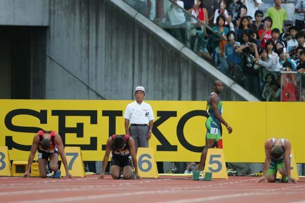 Asafa Powell after his false start DQ in Yokohama (Kazutaka Eguchi (Agence SHOT))