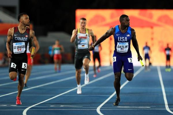 Andre De Grasse anchors Canada to victory in the men's 4x100m heats at the IAAF/BTC World Relays Bahamas 2017  (Getty Images)