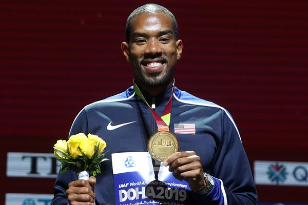 Christian Taylor with his triple jump gold medal at the IAAF World Athletics Championships Doha 2019 (AFP / Getty Images)