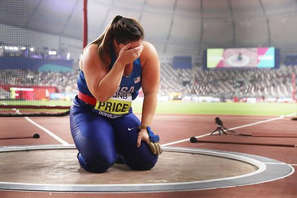 DeAnna Price after winning the hammer at the IAAF World Athletics Championships Doha 2019 (Getty Images)