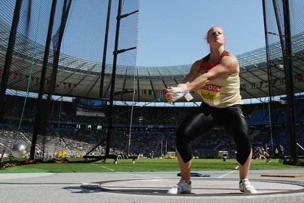 Defending World champion Betty Heidler of Germany throws a Championship Record of 75.27m in the women's Hammer Throw qualification in Berlin (Getty Images)