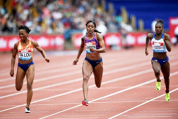 Marie-Josee Ta Lou, Elaine Thompson and Dina Asher-Smith in action at the IAAF Diamond League meeting in Birmingham (AFP / Getty Images)