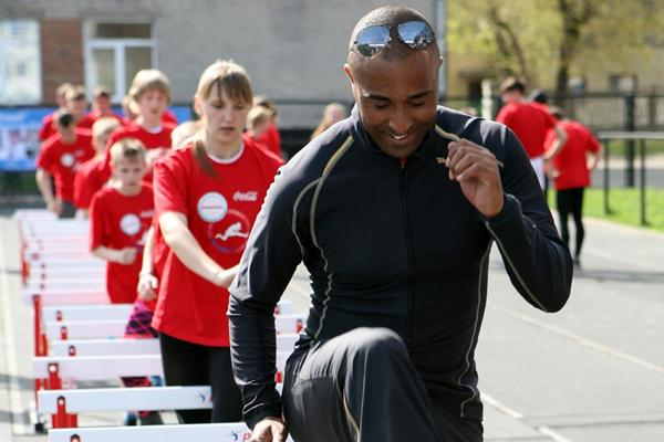 Colin Jackson performs some drills at the hurdling master class in Barnaul (Luke Tchalenko)
