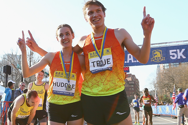 Molly Huddle and Ben True after winning the BAA 5k (Getty Images)