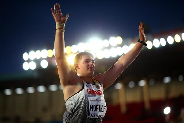 Germany's Timo Northoff after taking gold in the boys' shot put at the IAAF U18 World Championships Nairobi 2017 (Getty Images)