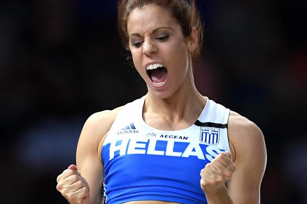 Ekaterini Stefanidi jumping to the European title in Berlin (Getty Images)