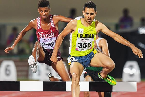 Hossein Keyhan en route to the Asian title in the steeplechase (AFP/Getty Images)