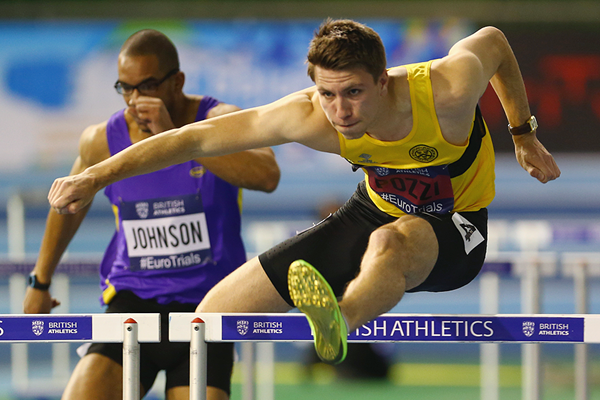 Andy Pozzi in action in the 60m hurdles (Getty Images)