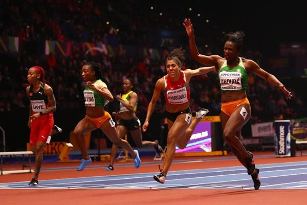 Murielle Ahoure wins the 60m at the IAAF World Indoor Championships Birmingham 2018 (Getty Images)