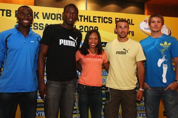 (L to R) Kerron Clement of USA, Usain Bolt of Jamaica, Allyson Felix of the USA, Periklis Iakovakis of Greece, and Andreas Thorkildsen of Norway at the WAF press conference in Thessaloniki (Getty Images)
